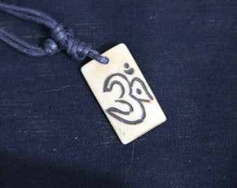 Made in Nepal - Yak Bone Necklace - Black Cord Necklace - Tibetan - Rectangle Om