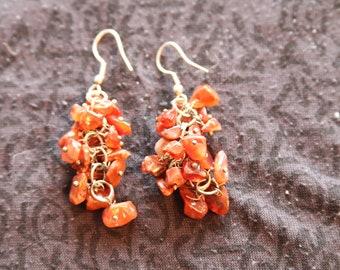 Made in Nepal - Eclectic Earring - Bohemian Earring - Stone Earring - Brown Multi Stone Dangles