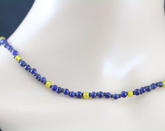 Made in Nepal - Jewelry - Beaded Necklace - Delicate Deep Blue and Yellow