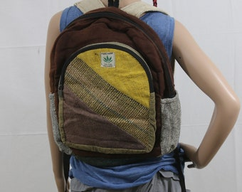 Made in Nepal - Hemp Backpack - Hemp and Recycle Fabric - Nepal Hemp Backpack Brown with Large Yellow, Purple and Recycled Material Pocket