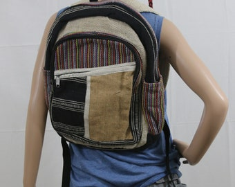 Made in Nepal - Hemp Backpack - Hemp and Recycle Fabric - Nepal Hemp Backpack Striped Pattern Large Front Pocket and Small Diagonal Pocket