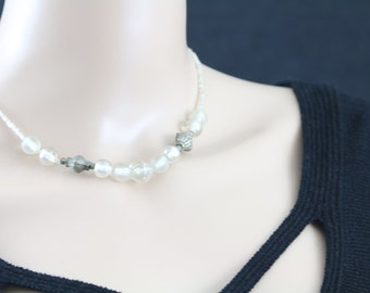 Made in Nepal - Jewelry - Glass Necklace - Clear Glass  with Metal Beads