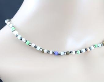 Made in Nepal - Jewelry - Stone Necklace - Light Rainbow Stone Bead