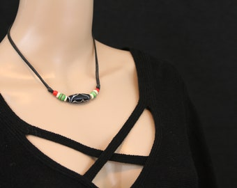 Made in Nepal - Tibetan Necklace - Bohemian Glass and Black Cord Necklace - Glass Long Bead - Black