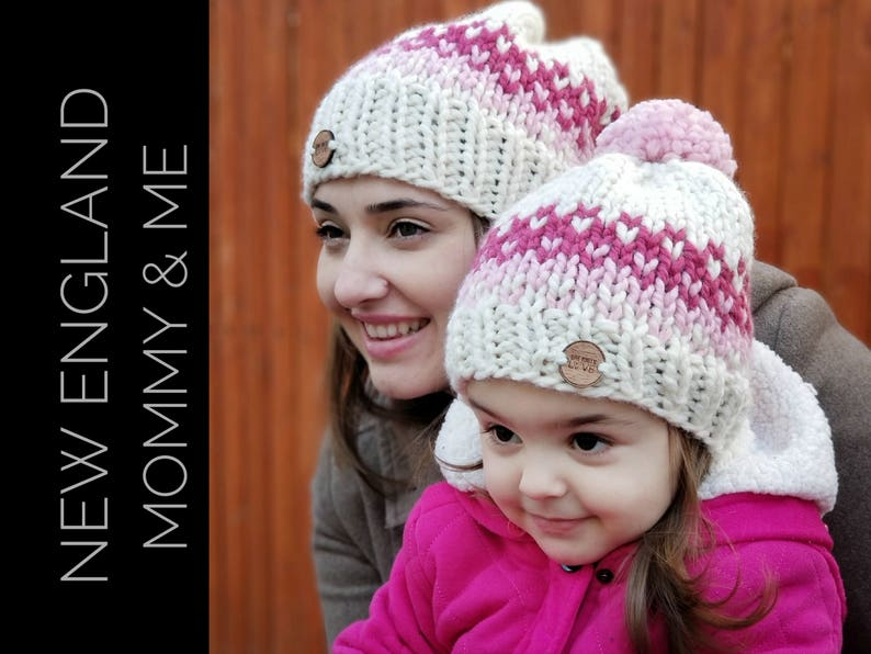 Mommy and Me Knit Beanies  Matching Knit hats Mommy and me set  077dd899f16