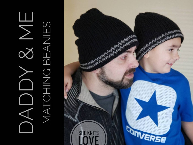 8f0cf045985 Daddy   Me matching hats dad son double knit beanie kids