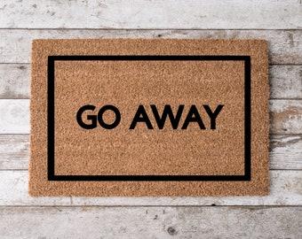 Go Away Mat   Personalized Door Mat   Funny New Home Welcome Mat   Trespassers Beware Mat   Home Decor   Housewarming   Fun Closing Gift