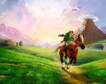 The Legend of Zelda: Ocarina of Time Link Epona Poster