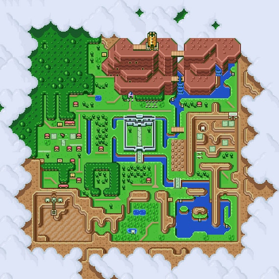 Link To The Past Light World Map.The Legend Of Zelda A Link To The Past Light World Map Poster Etsy