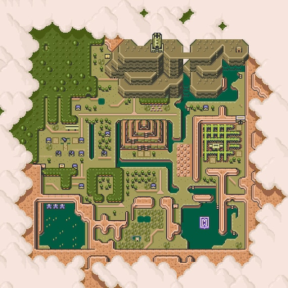 A Link To The Past Dark World Map.The Legend Of Zelda A Link To The Past Dark World Map Poster Etsy