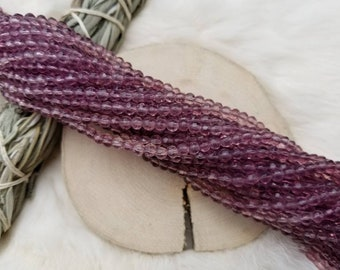 10 Strands of Light Purple Round Faceted Glass Beads 4mm