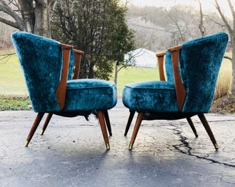 Vintage Mid Century Modern Barrel Back Chairs in Blue Velvet-a Pair in the Style of Adrian Pearsall & Adrian pearsall chair | Etsy
