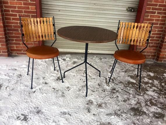 Very Rare Vintage Retro Mid Century Modern BistroDinette Set Etsy - Mid century modern bistro table