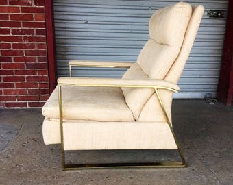 Late Mid Century Modern Flatbar Recliner in Brass Plated Chrome attributed to Milo Baughman