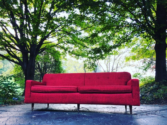 Vintage Mid Century Modern Sofa In Red Nubby Wool In The Style Etsy