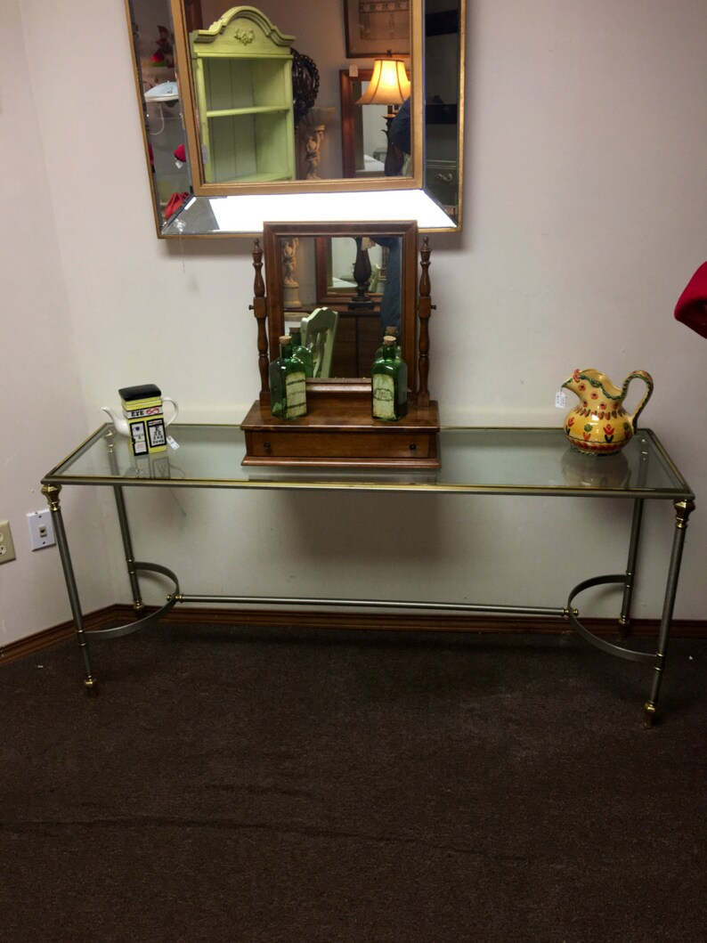 Cool Vintage Mid Century Hollywood Regency Console Table By Ethan Allen In Brushed Steel Brass Glass Made In Italy Gmtry Best Dining Table And Chair Ideas Images Gmtryco