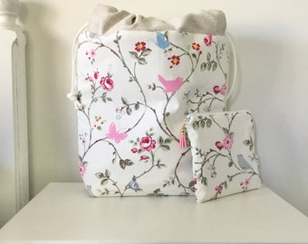 Drawstring Project Bag with Notions Pouch, Gift for Knitters, Project Bags, Knitting Bag