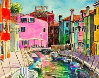 VENICE WATERCOLOR PAINTING canal colorful handprinted print Burano Original