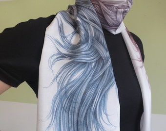 Genuin Silk HairScape Scarf, hand drawn gradient scarf, woman unique gift, wearable art, digitally printed blue scarf