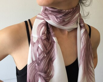 Genuin Silk HairScape Scarf, hand drawn scarf, woman unique gift, wearable art, digitally printed pink scarf