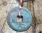 ONLY ONE Ancient Chinese Coin age About 1000 Years Pendant Necklace Copper is Forged Cotton Cord Silver Sun Style Jewelry Handmade