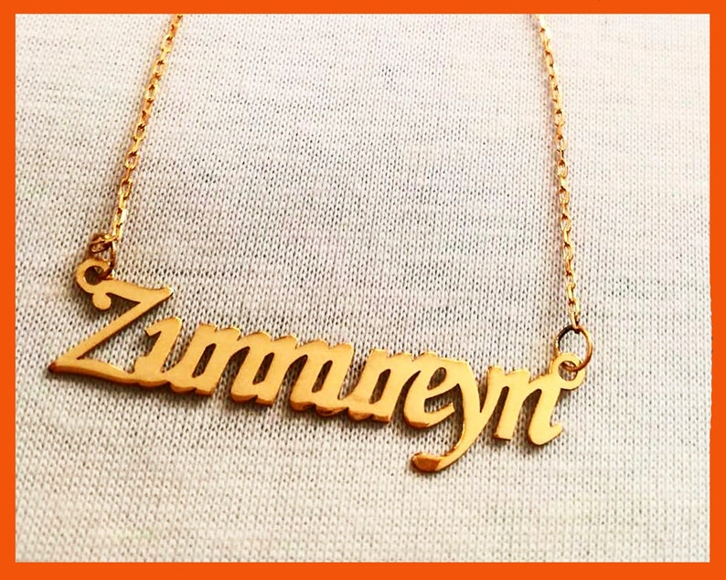 Custom name necklace for women anniversary gift name jewellery brass necklace font necklace rose gold plated name pendant necklace