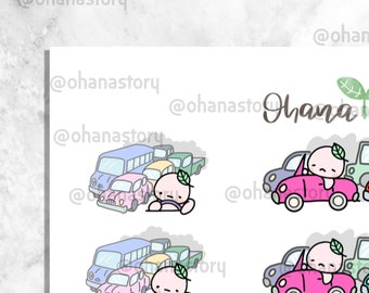 BUJI 253   Buji Traffic Jam   Hand-drawn Planner Stickers