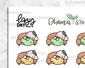 BUJI 173 | Buji Relax on the Sofa Couch | Hand-drawn Planner Stickers