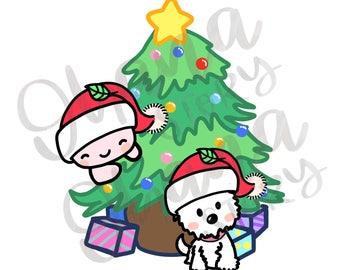 Buji with 1 Dog    Buji Christmas Tree    DIGITAL DOWNLOAD