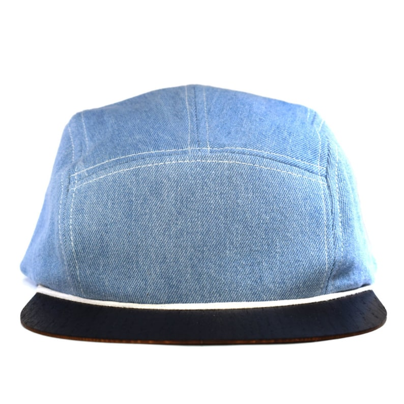 d2aeb095bab48 Denim hat blue with unique wooden brim - Made in Germany - Unisex -  Lightweight   comfortable - Snapback One ...