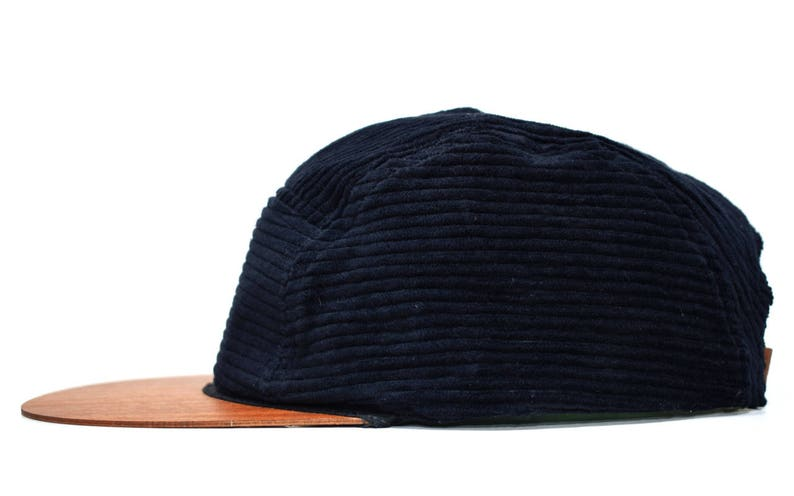 9cca9df975cb1 Black corduroy cap with unique wooden brim Made in Germany