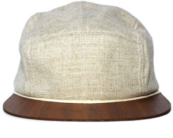 Lou-i Cap beige with unique wooden brim Made in Germany - Lightweight & comfortable - One size fits all Snapback hat