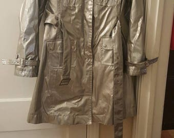 Vintage Trilogi Silver Metallic Trenchcoat Rain Jacket 1990's XS