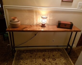 Table, Wood Table, Entry Way Table, Tall Industrial Pipe Table, Sofa Table,  Pipe Table, Decorative Entryway Table, Industrial Pipe Table