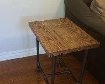 End Table Industrial Pipe And Wood