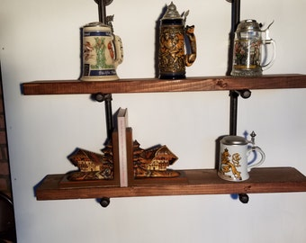 Floating Shelf Shelves 6 Inch Deep Double Industrial Pipe Wall