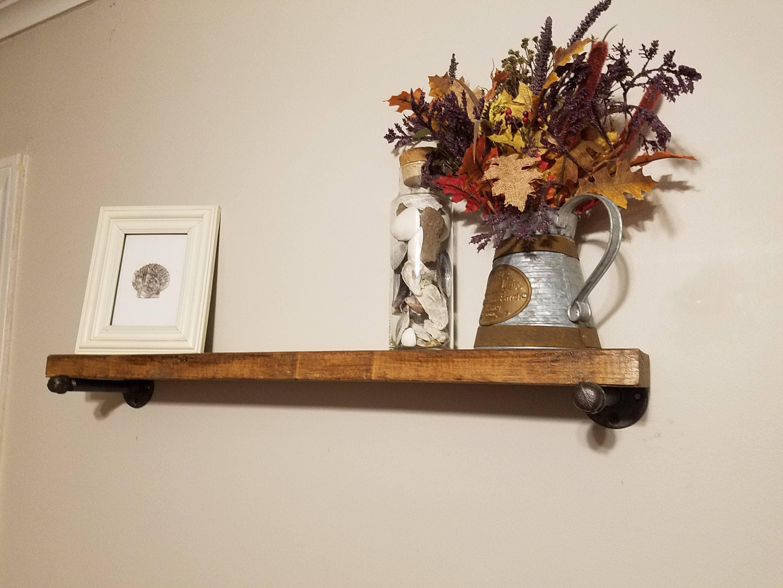 floating shelves 6 inch deep industrial floating shelves etsy. Black Bedroom Furniture Sets. Home Design Ideas