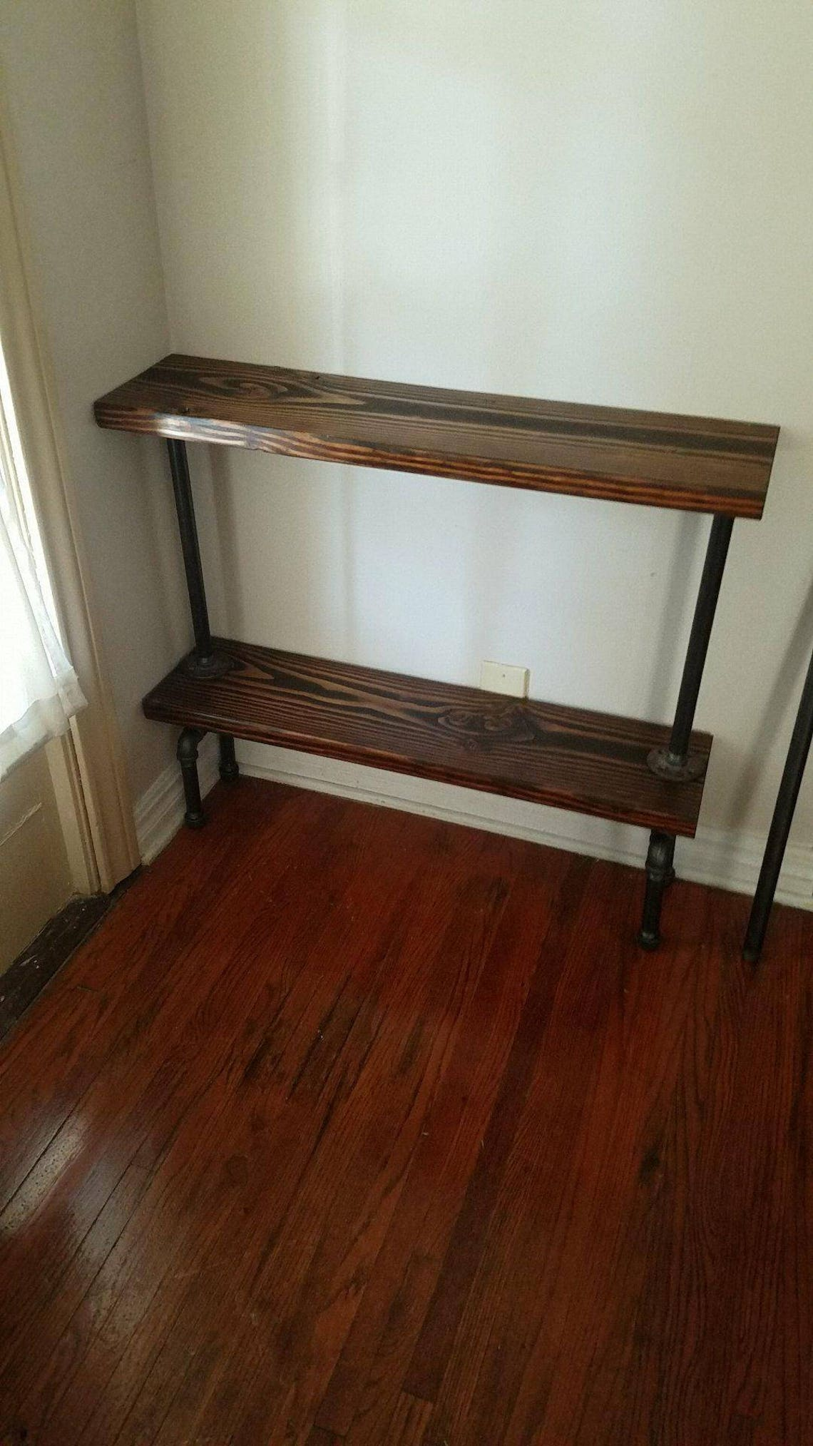 """9"""" depth Table, wood table, Entry way table, tall Industrial pipe table, pipe table, decorative entryway table, industrial pipe table"""