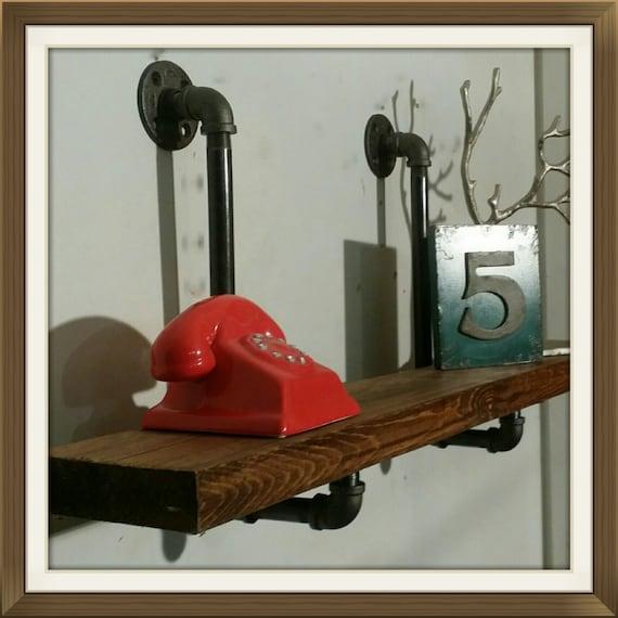 floating shelf pipe shelves 12 inch deep shelves industrial etsy. Black Bedroom Furniture Sets. Home Design Ideas
