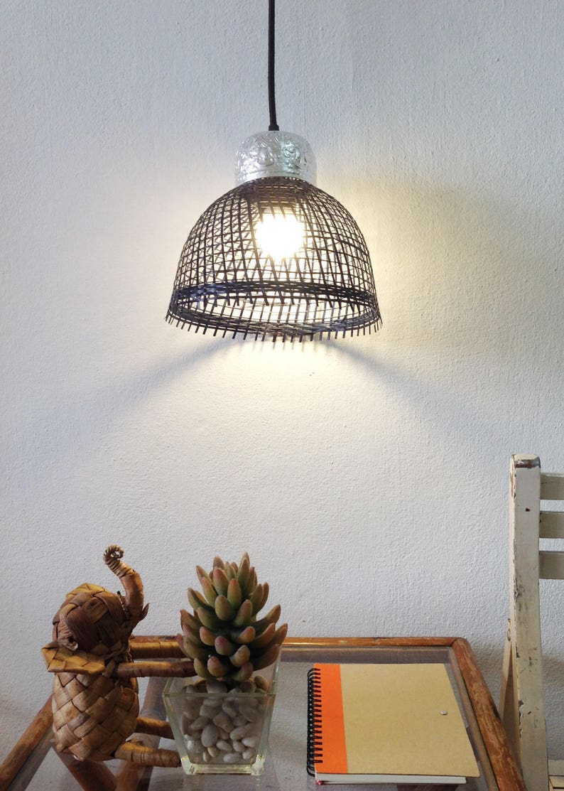 Navy blue pendant light small lamps bamboo lampshade with stamped aluminum floral bowl on top,dark blue lamp,bedside lamps,living room light