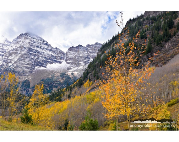 North Maroon Peak First Snow Fall Colors Maroon Bells Colorado Photography Prints Aspen Co West Elk Mountains