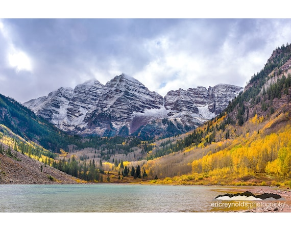 Maroon Bells First Snow Fall Colors Colorado Photography Prints Aspen Co West Elk Mountains