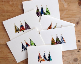 homemade christmas cards unique designs african print fabric sold as individual or as set of 6