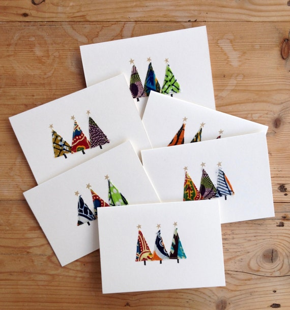 Homemade Christmas Cards.Homemade Christmas Cards Unique Designs African Print Fabric Sold As Individual Or As Set Of 6