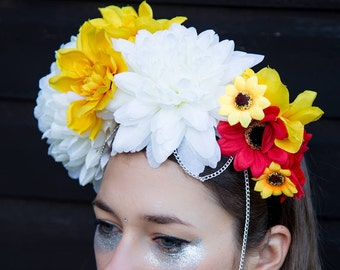 Floral Festival Crown, Yellow and Red Flower Headband, Costume