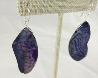 Large Purple Agate Sterling Silver Drop Earrings