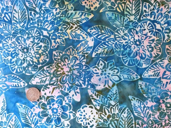 100/% QUILTING COTTON FAT QUARTERS BATIK STYLE FABRIC 4 DESIGNS BLUE SELECTION