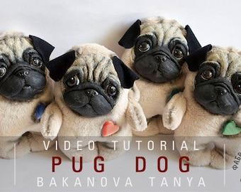 Pug Dog step by step video tutorial with English subtitles by Bakanova Tanya