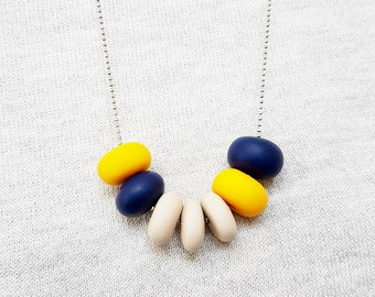 Cream necklace, Navy blue necklace, Yellow necklace, Beaded necklace, Polymer clay necklace, Chunky necklace, Spring jewelry, Gift for her