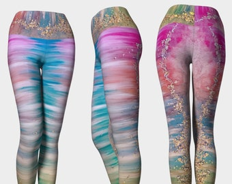 5228092b4c2b0 The Love Frequency 2 with Comfort Waistband| Leggings ~ Yoga Pants ~  Artwork Leggings ~ Boho Leggings ~ Funky Yoga Pants ~ Fitness Leggings